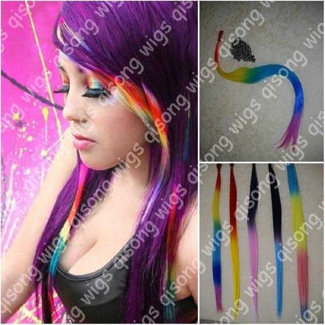 200pcslot 18 Long Pretty Rainbow Tie Dye Synthenic Hair Extension
