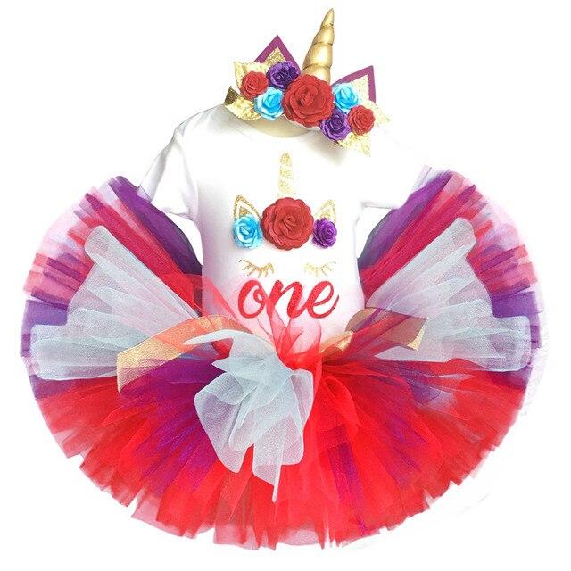 Hoa Headband Váy Cho 1 Năm Tuổi Bé Cô Gái Đầy Màu Sắc Trẻ Sơ Sinh Toddler Trẻ Em Ăn Mặc 1st Sinh Nhật Quần Áo Làm Lễ Rửa Tội Áo