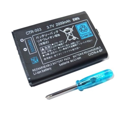 2000mAh 3.7V Replacement Rechargeable <font><b>Battery</b></font> <font><b>Pack</b></font> With Tool Screwdriver For Nintend0 <font><b>3DS</b></font> image