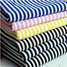 Z005-diy cloth 5mm striped cotton knitted lycra elastic T-shirt fabric cloth recommended baby clothes