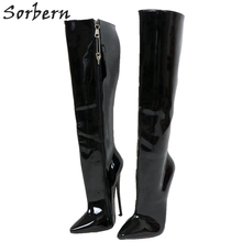 High-Boots Sorbern Pointed-Toe Knee Zipper Black Designers Women 18cm Solid Lockable