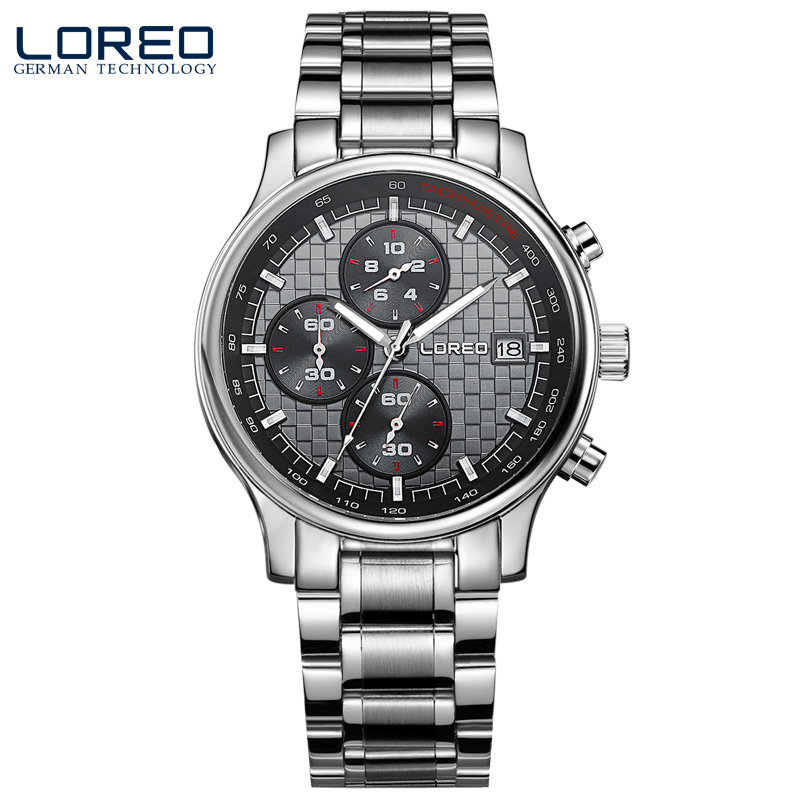 ФОТО LOREO Germany watches men luxury brand quartz sapphire water resistant 5ATM black stainless steel luminous Calendar Chronograph