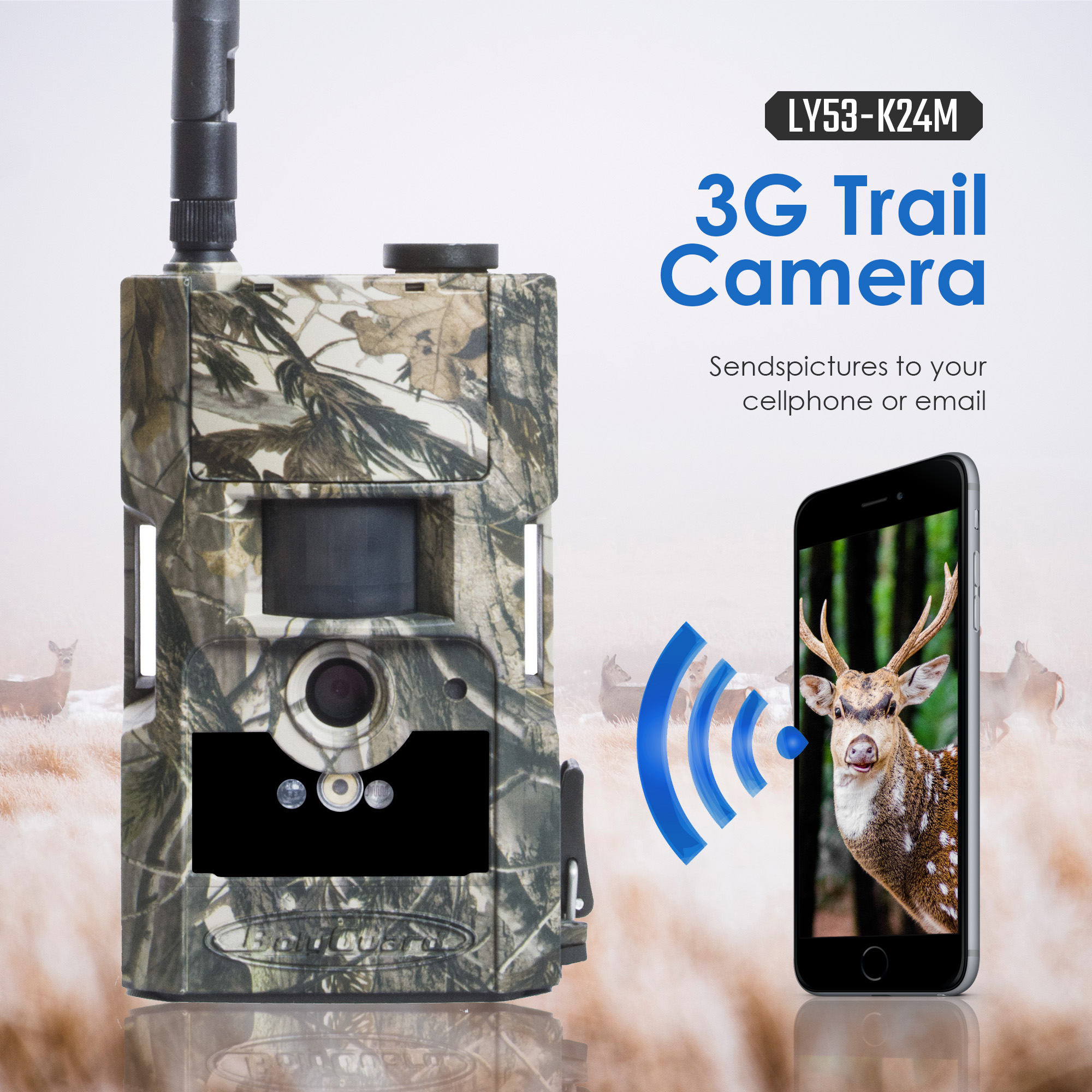 Bolyguard hunting trail camera 3G MMS SMS wildcamera 24M 1080PHD 90ft PIR night vision photo traps Scouting Camera fototrappola-in Hunting Cameras from Sports & Entertainment