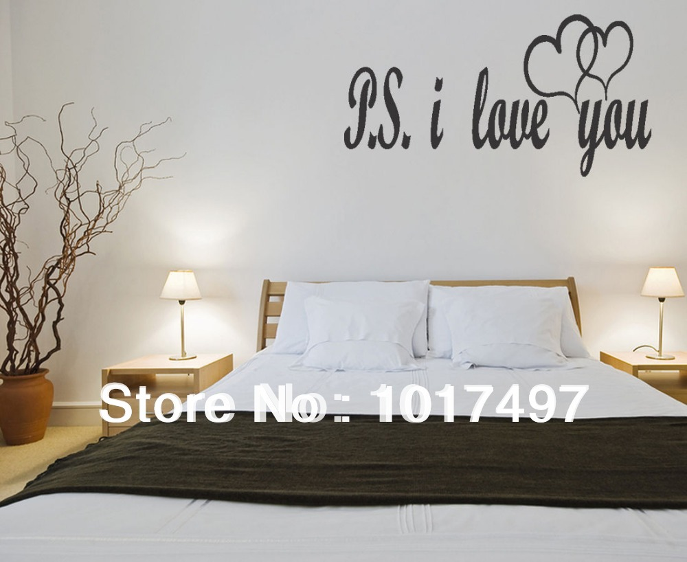 Wall stickers for bedrooms quotes - Free Shipping Large Size Ps I Love You Vinyl Wall Lettering Bedroom Decor Quotes Romantic