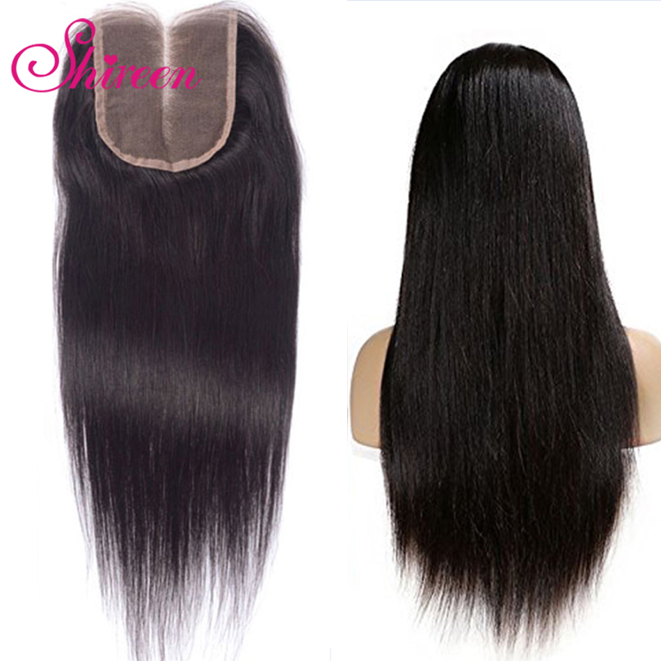 Shireen Hair Brazilian Straight Lace Closure Natural Black Color 4*4 Free Middle Three Part 100% Remy Hair Closure 10 To 22 Inch