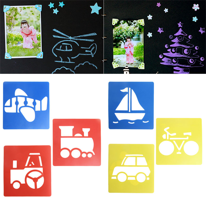 New-6x-Children-Transport-Shaped-Plastic-Painting-Drawing-Template-Stencil-Kids-Toy-2