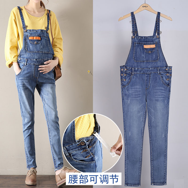 Autumn Denim overalls For Pregnant Women Jumpsuit Pregnant Clothes Rompers Jeans Maternity Overalls Denim Trousers Y807 free shipping 2018 jeans fashion plus size 24 30 pants for tall women high quality overalls jumpsuit and rompers denim trousers