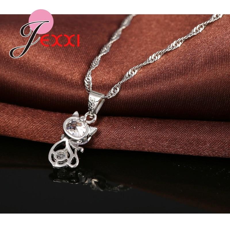 925 Sterling Silver Cubic Zirconia Wedding Jewelry Sets AAA CZ Diamond Cute Animal Cat Necklace Earrings Women Collar Brincos