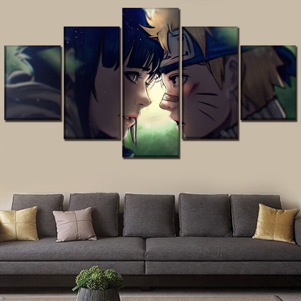 One Set Framework Or Unframed Home Decor Wall Art Canvas Print Painting 5 Panels Anime Naruto Hinata Hyuga Uzumaki Poster