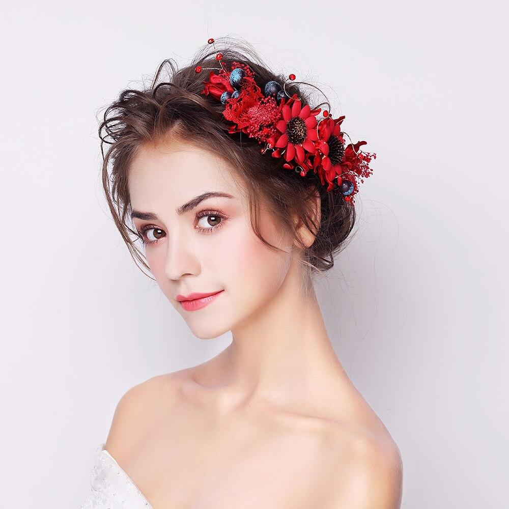 red fabric flower headband hair