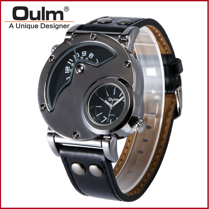 Men cool designer watch 2 time zone double time imported quartz movement watch 2018 popular men luxury oulm 9591 army wristwatch