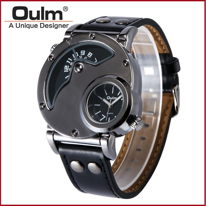 Muži cool designer hodinky 2 časové pásmo dvakrát dovezené křemenné hodinky pohybu 2018 populární muži luxusní oulm 9591 armádní náramkové hodinky
