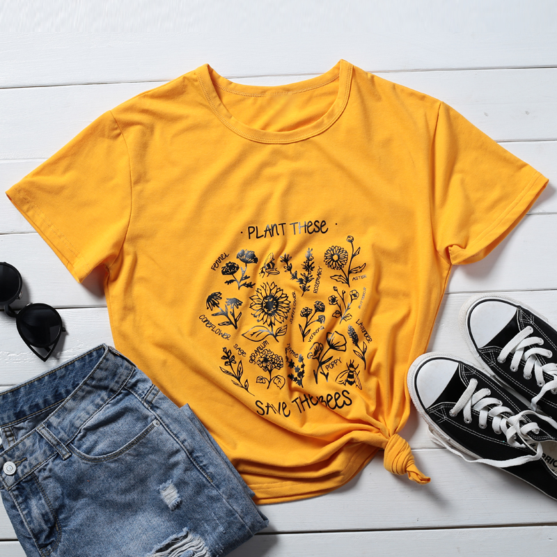 Plant These Harajuku Tshirt Women Causal Save The Bees T-shirt Cotton Wildflower Graphic Tees Woman Unisex Clothes Drop Shipping 2