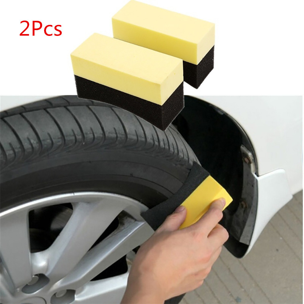 2pcs Auto Wheels Brush Sponge Tools Applicator Special For Tire Hub Cleaning Car Tyre Wash U Shape Suber Absorb Water, Limpid In Sight