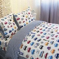 FADFAY Home Textile Cars Bedding Queen Size Train Bedding Sets Cute Kids Bedding Set Queen Size Cartoon Bedding Anime Bed Sheets