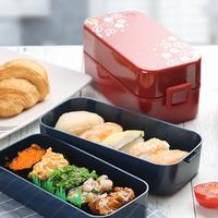 Pure Color Lunch Box Microwave Oven Heating Double layer Bento Box Three compartment Rectangular Plastic Lunch Box Set