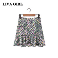 Liva Girl Chiffon Skirt Mini Short Skirt 2017 The Latest Version Of The Daisy Printed Flounce