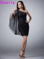 Одно плечо Little Black Платья для женщин Коктейльные платья бисером Ruched органзы Коктейль Пром Платья для вечеринок Дешевые индивидуальный зака