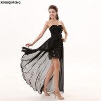 Черный Высокий Низкий Сексуальная коктейльное платье Короткое Элегантный Коктейльные платья Кружево Цветы из бисера халат De коктейль Courte