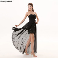 Black High Low Sexy Cocktail Dress Short Elegant Cocktail Dresses Lace Beaded Flowers robe de cocktail courte Prom Gowns