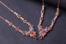 Natural multicolor tourmal Necklace Natural Gemstone Pendant Necklace S925 sliver women Luxury trendy butterfly party Jewelry