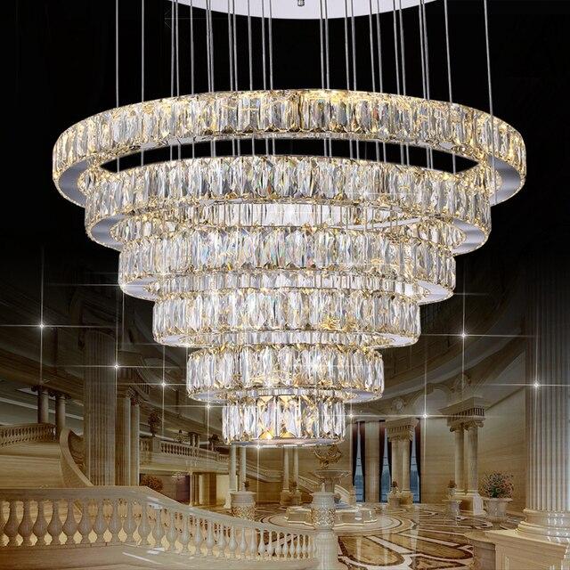 Led kristall pendelleuchten 6 ringe für esszimmer küche restaurant ...