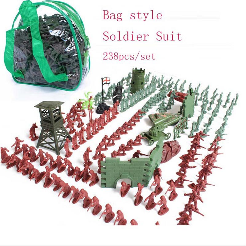 高品質のプラスチック製1:72兵士は238個/セット、ジッパーバッグスタイルモデルは第二次世界大戦の軍事基地軍団のおもちゃのタンクに合った