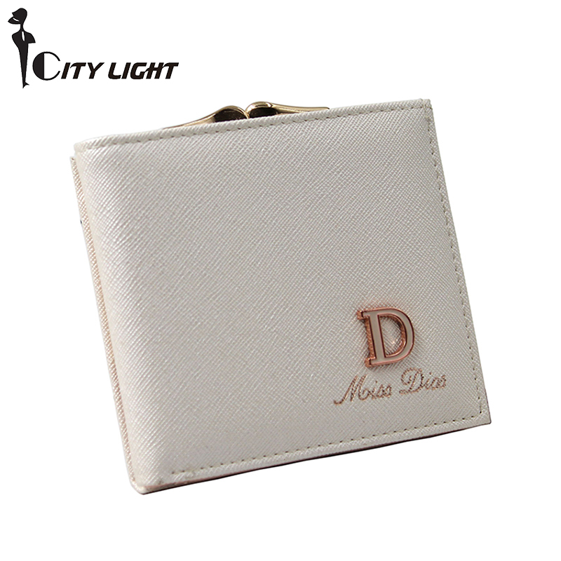 CITY LIGHT New arrival fashion women wallets 2017 lady short style simple small wallet coin purse 7 Colors D letter card holder new fashion small lady wallets coin purse lady with card holder vintage women wallet short mini purse best gift for friend500835
