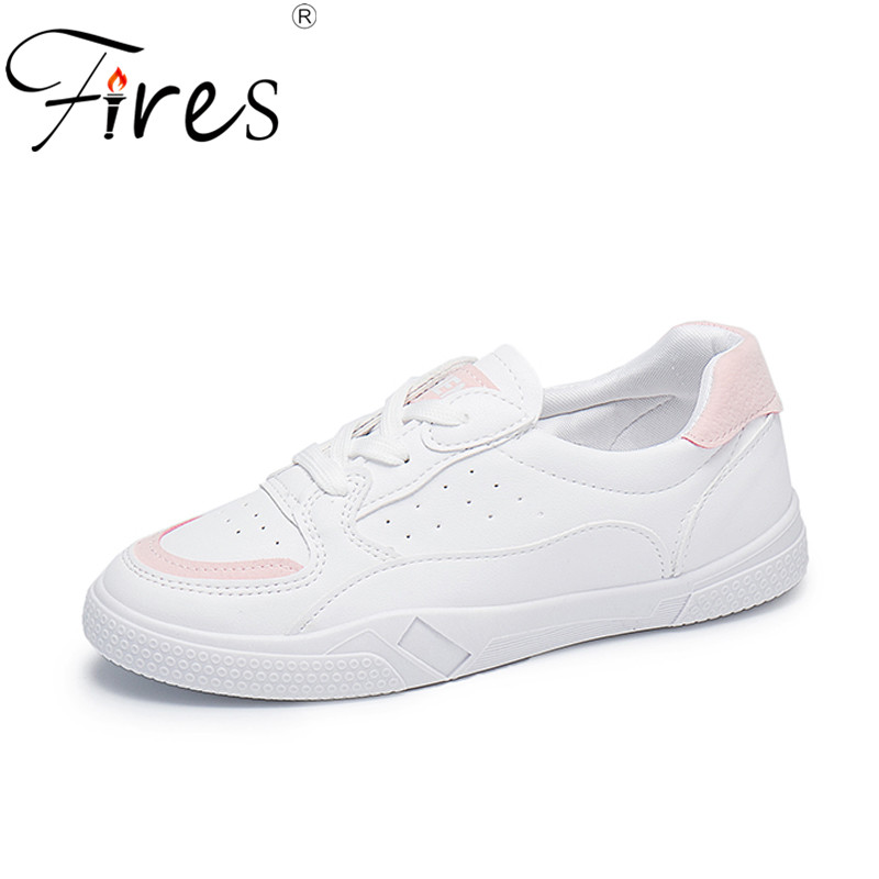 Fires Women Artificial Leather Shoes Comfortable Casual Flats Trendy Lace-up Fashion Female Autumn Shoes Solid White Sneakers canvas shoes women casual flats 2017 trendy korean version lace up fashion female spring autumn shoes solid white shoes