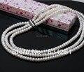 ASHIQI Natural Collares de perlas de Agua Dulce, 3 strand collar de perlas para las mujeres, 7-8mm de Joyería de Perlas