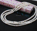 ASHIQI Natural Freshwater pearl Necklaces, 3 strand pearl necklace for women , 7-8mm Pearl Jewelry