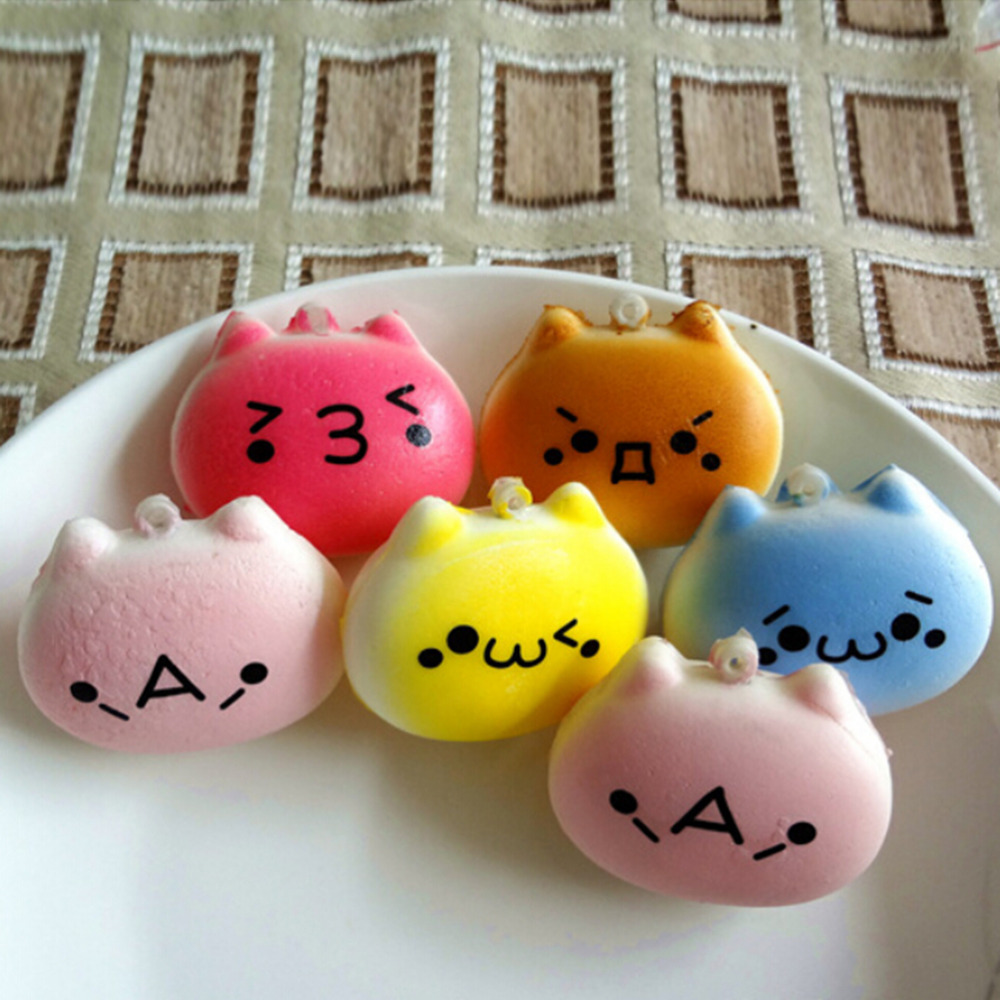 4cm Cartoon Cat Squishy Charms Kawaii Buns Bread Cell Phone Key Bag Strap Pendant Squishes-in ...