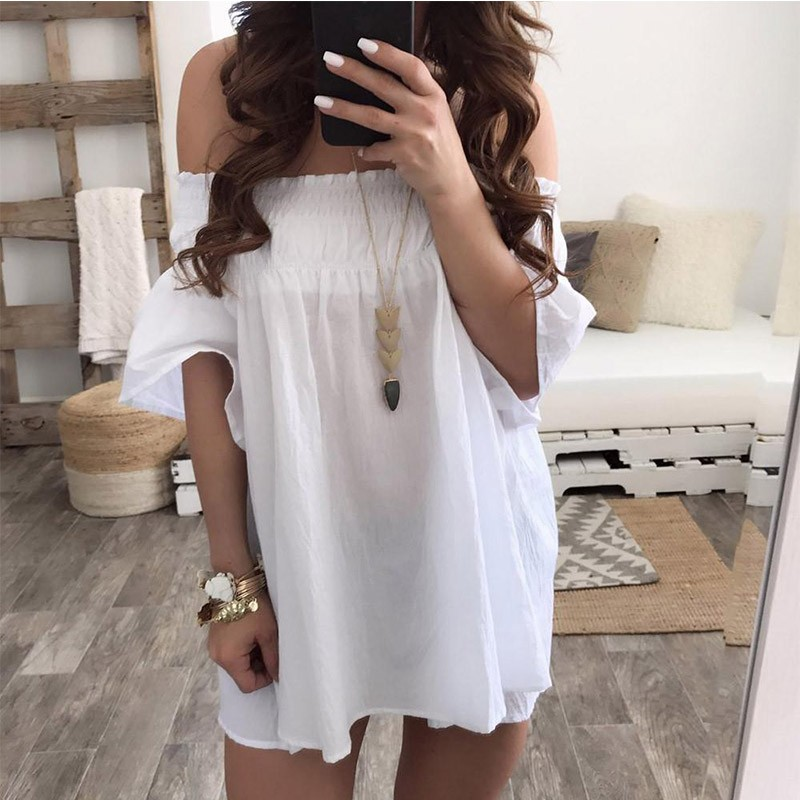 GUMPRUN 2018 Women Summer Flare Sleeve Boho Short Dress Sexy Off The Shoulder Loose White Mini Dresses Casual Beach Vestidos 4