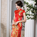 traditions red lace oriental cheongsam wedding dress formal long chinese dresses peacock style dress beautiful oriental women