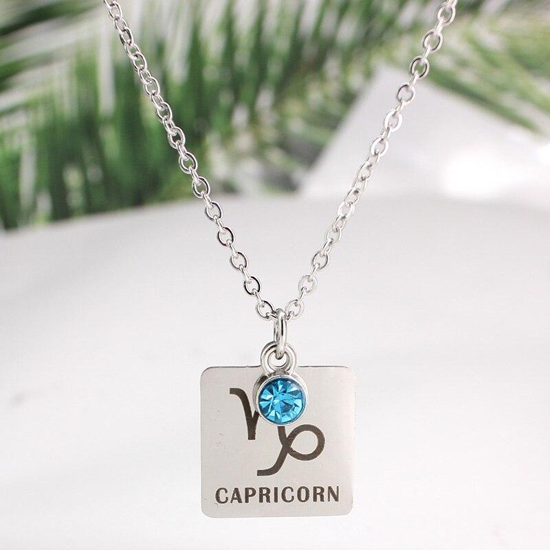 12 знаков зодиака Созвездия кулон ожерелье хрусталь камень ожерелье женщины друг подарок на день рождения ювелирные изделия из нержавеющей стали - Окраска металла: 11