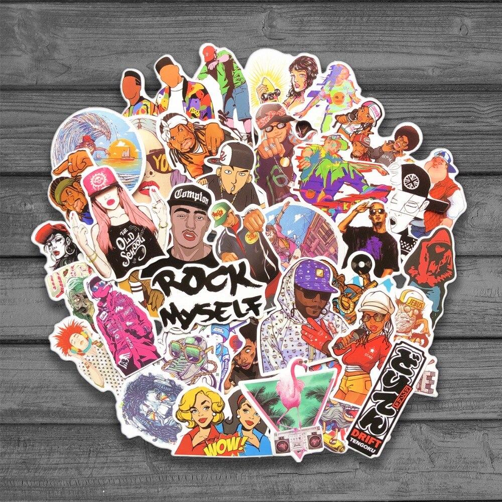 48pc/Lot Graffiti Rock Hip Hop Rap Singer Stickers For Luggage Suitcase Skateboard Motor Pegatinas Adesivi Waterproof Stickers
