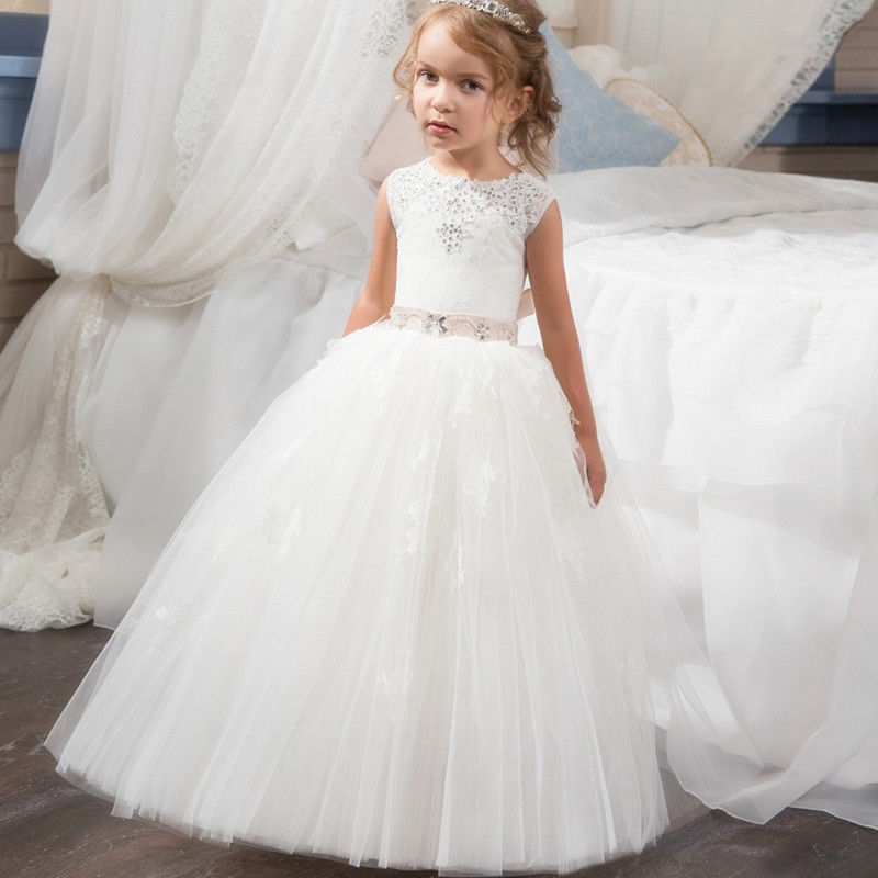 White Formal   Flower     Girl     Dress   Kids Pageant   dress   Party gown Ball Gown First Communion   Dresses