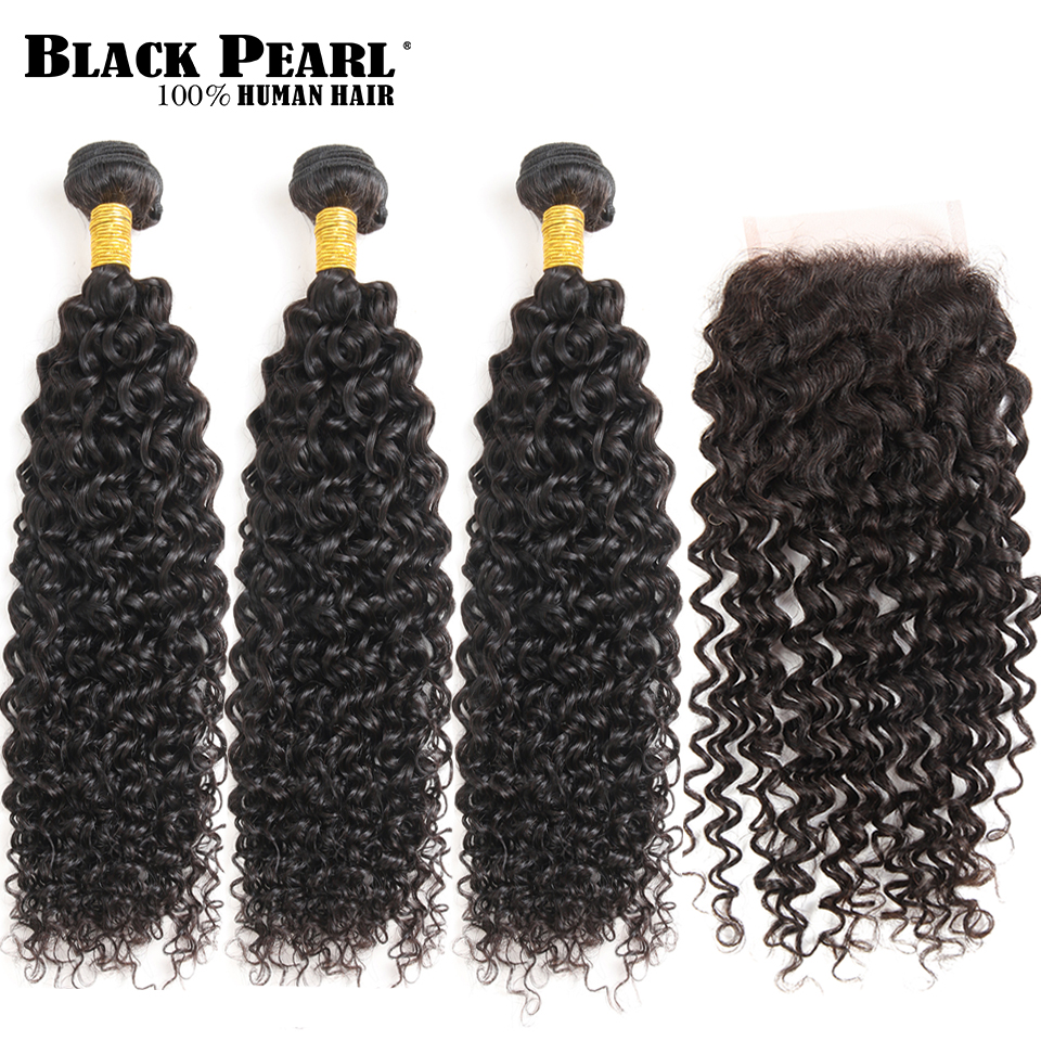Black Pearl Pre-Colored Remy Human Hair Bundles ith Closure Peruvian Curly Weave 3 bundles 4x4 Lace Closure Hair Extensions