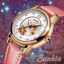 SUNKTA Top Luxury Brand Women Watches Leisure fashion Leather Quartz Ladies Diamond Dress watch Female gift Relogio Feminino+Box все цены