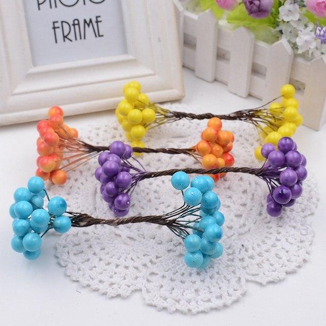 20 штук 40 глав Mini Berry Handmake Искусственные цветы Букет Свадебные украшения DIY ВЕНОК подарок Скрапбукинг Ремесло поддельные цветы