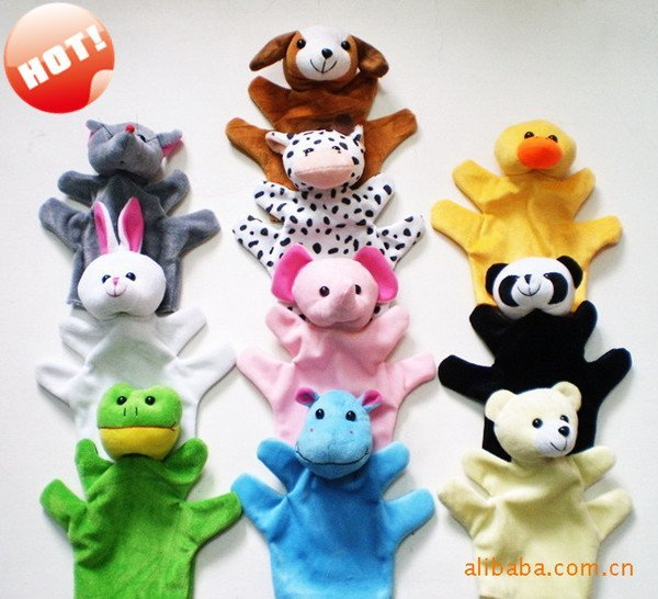 Wholesale Big hand puppet Plush toy Animal hand puppet Baby Toy Christmas gift 10 style Free Shipping