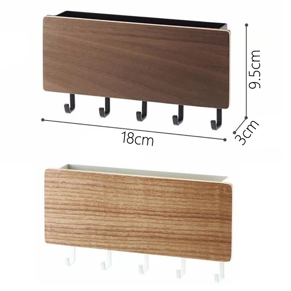 Key Storage Hook Door Back Clothes Hanging Hook Paste Small Fresh Porch Wooden Storage Box