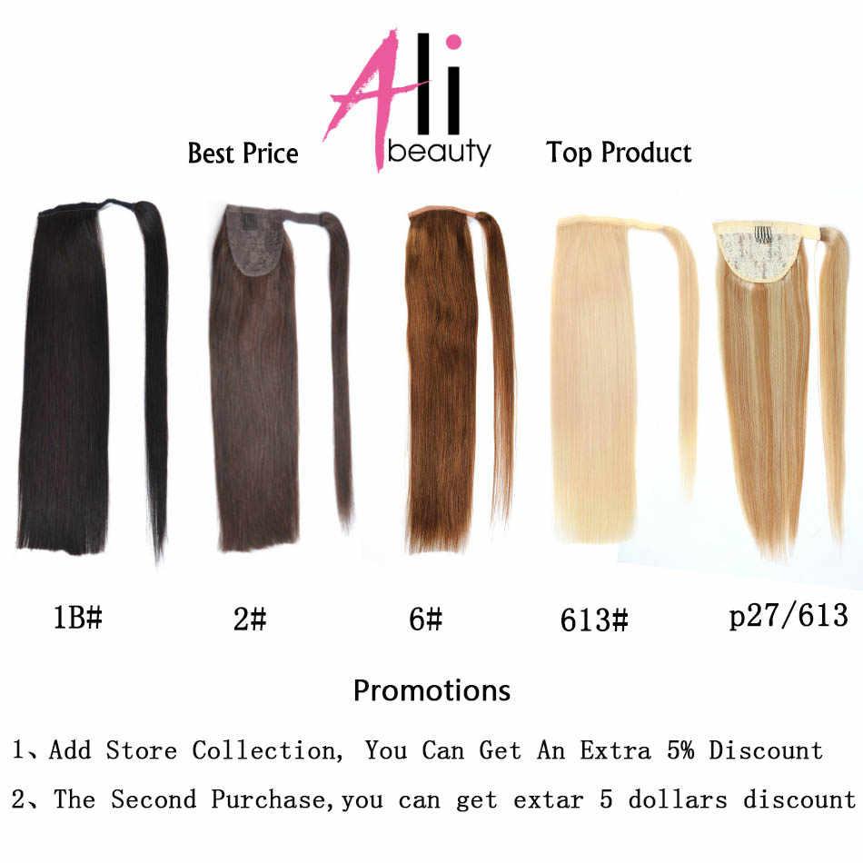 Ali-Schönheit Menschliches Haar Pferdeschwanz 60g 100g 120g Wrap Um Pferdeschwanz perücke Brasilianische 100% Maschine remy Menschliches Haar Extensions
