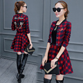 Spring and Autumn Winter new fashion ladies temperament skirt long sleeve plaid dress (3 colors optional)