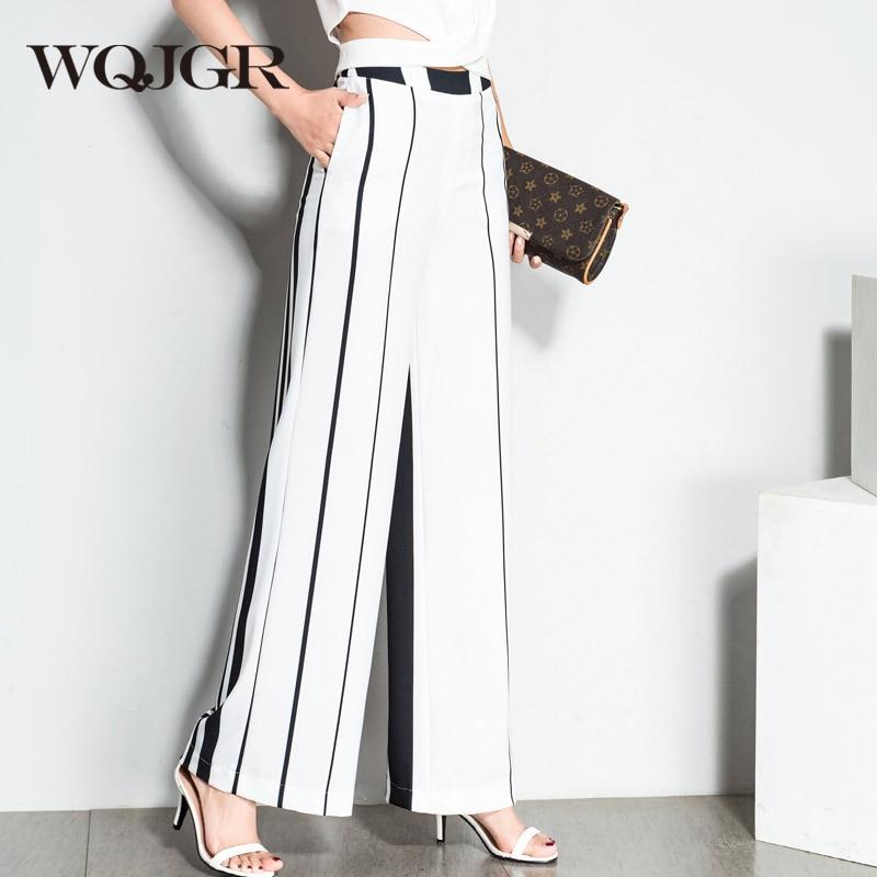 WQJGR 2018 Pantalones de cintura alta Pantalones de pierna ancha - Ropa de mujer