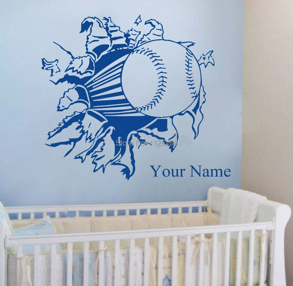 Customer made personalized boys name with baseball softball sport customer made personalized boys name with baseball softball sport wall sticker for kids rooms removable child decals wall decor in wall stickers from home amipublicfo Choice Image