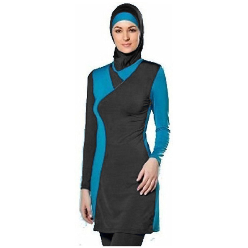 Muslim Swimsuit Modest Islamic Suit 2 Pieces Connected Hijab Arab Swimwear Bikinis for Women Girls three pieces suit