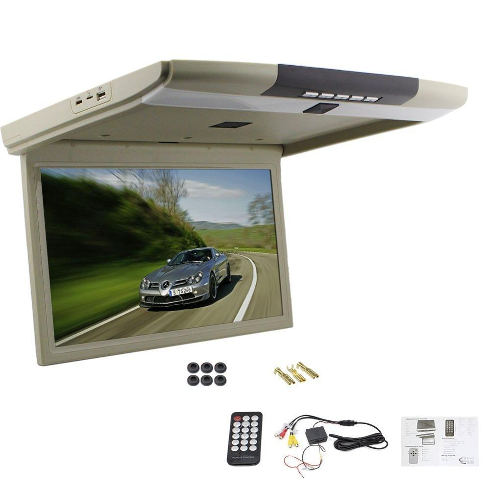 15 inch OverHead Player TFT Flip Down Car Monitor LED LCD Monitor Roof Mount Display with USB SD Remote control 2 Video input