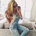 Novas mulheres Da Moda denim macacão azul jeans rompers casual elegante charme buraco macacão jeans calças