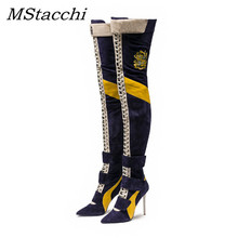 MStacchi Arrival Blue Patchwork Thigh High Boots Women Pointy Toe High Heels Lace Up Botas Largas Sexy Over The Knee Knight boot